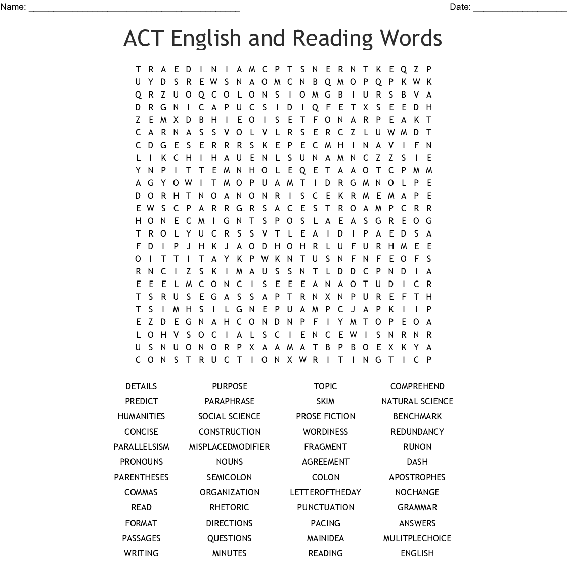 Act English And Reading Words Word Search