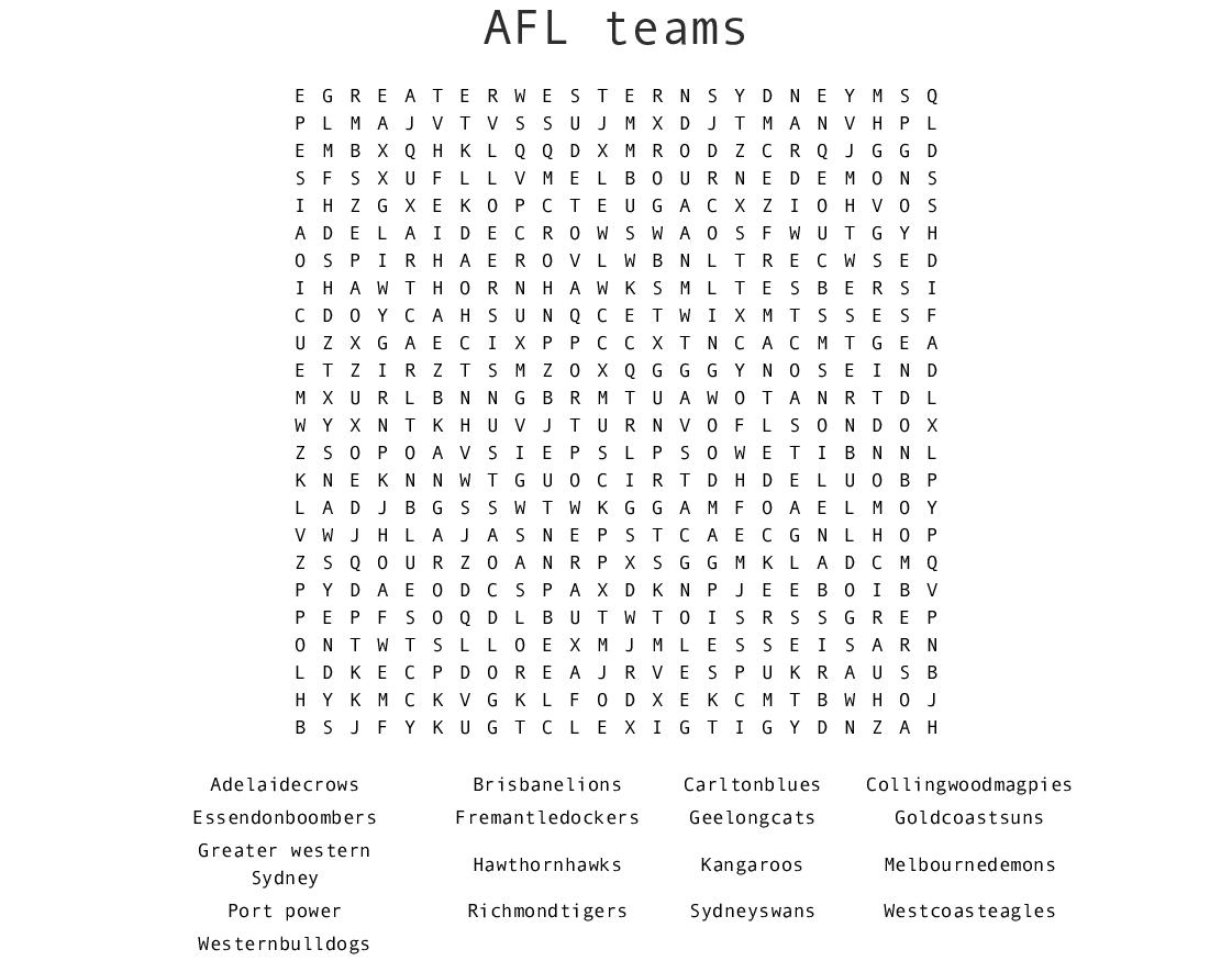 Afl Teams Word Search