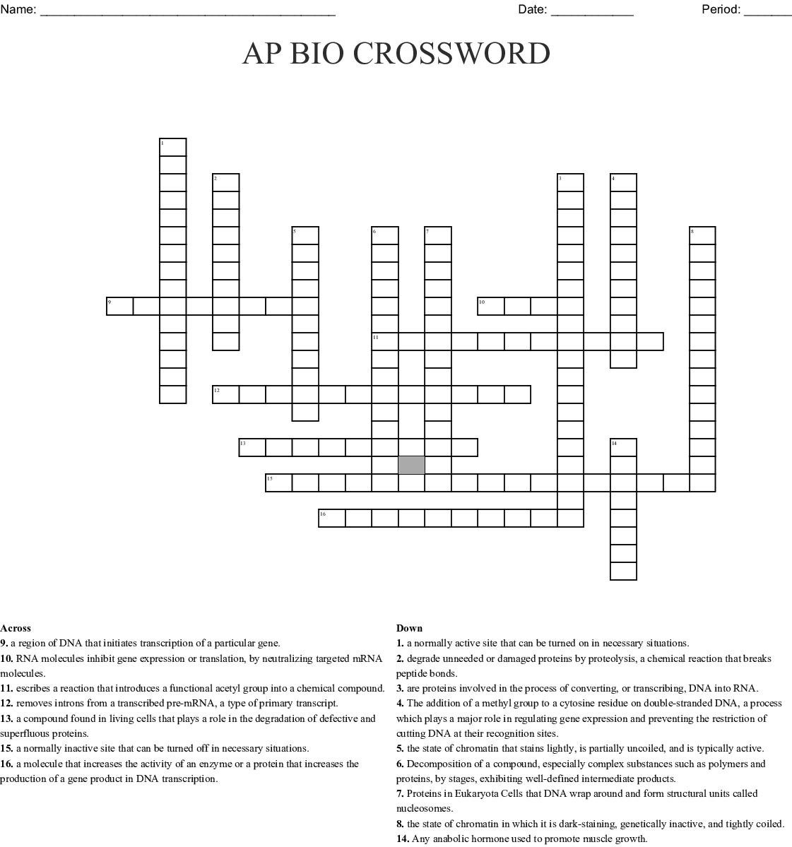 Ap Bio Crossword