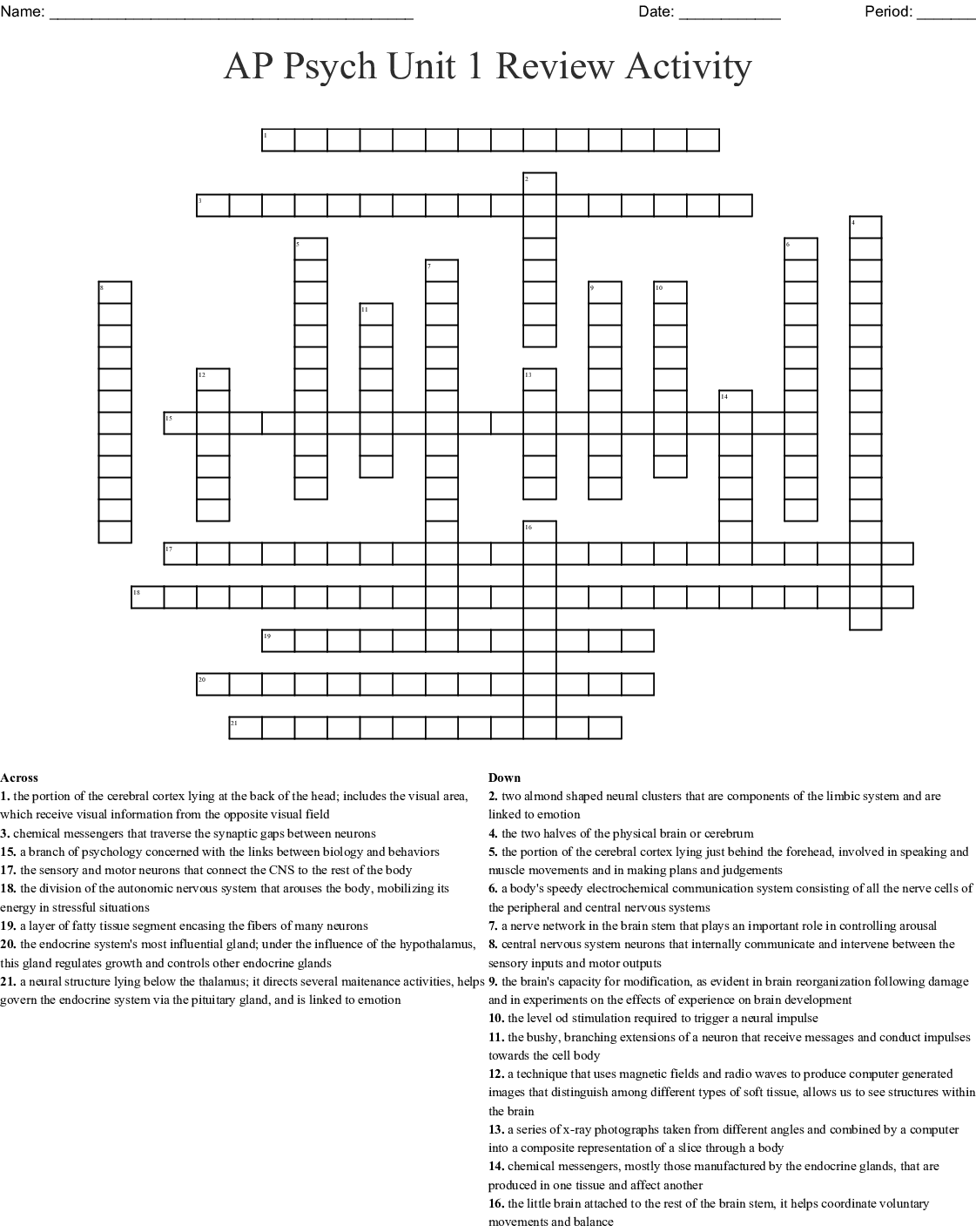 Ap Psych Unit 1 Review Activity Crossword