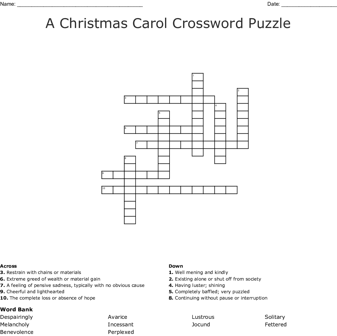 A Christmas Carol Vocabulary Crossword