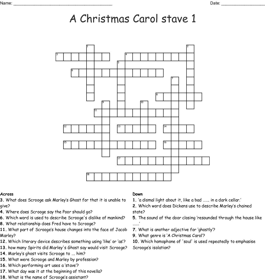 A Christmas Carol Stave 1 Crossword