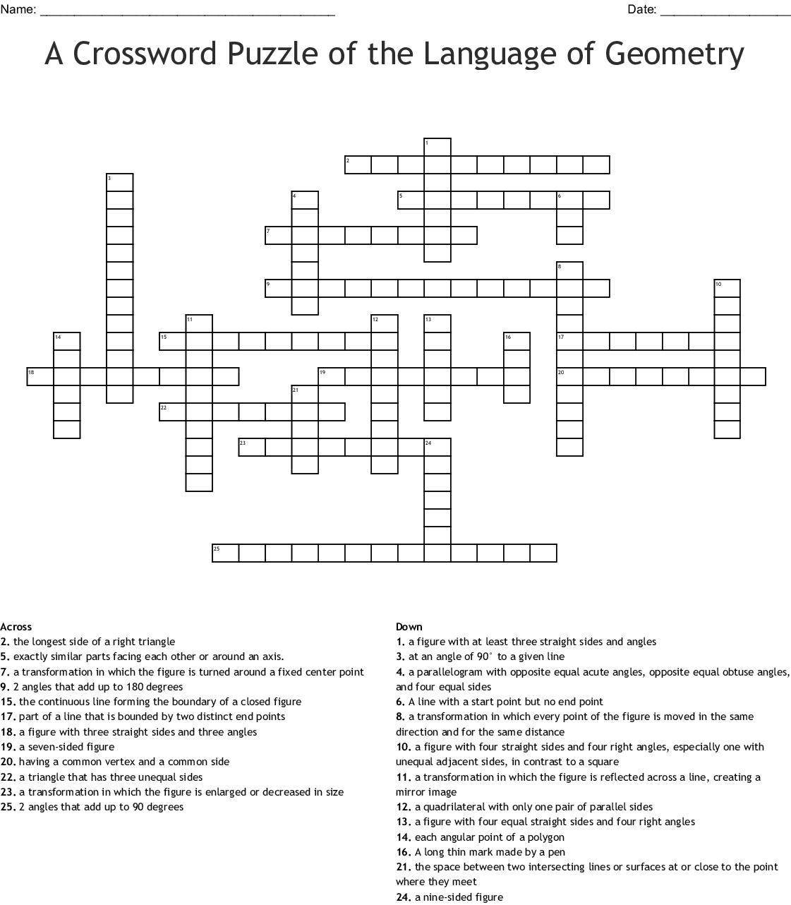 Geometry Vocabulary Crossword