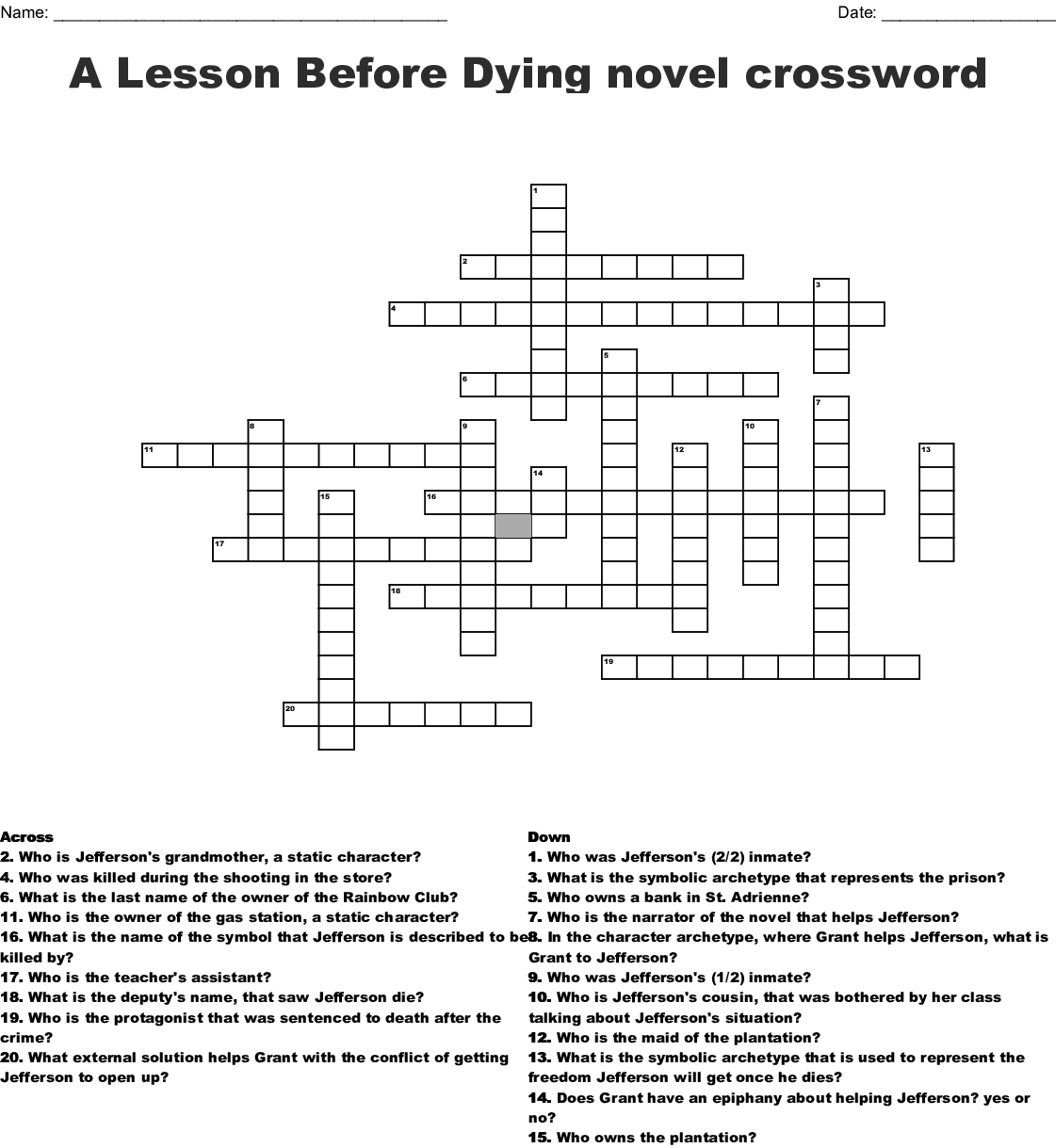 A Lesson Before Dying Word Search