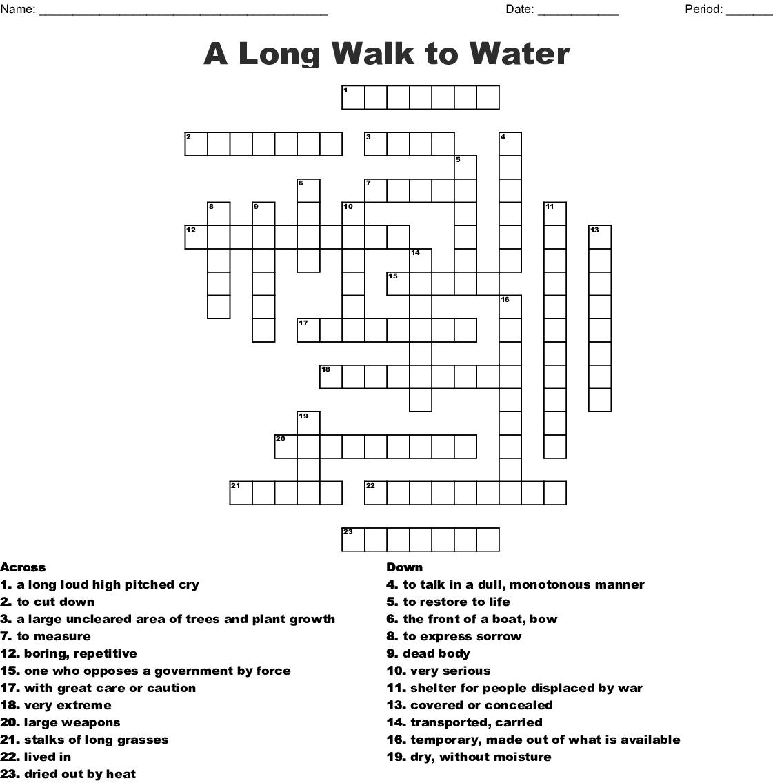 A Long Walk To Water Crossword