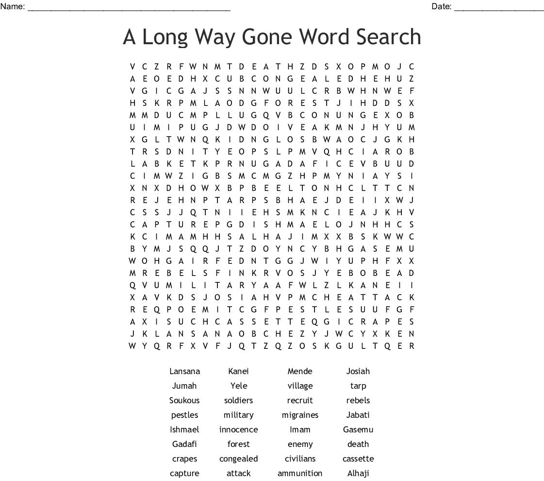 A Long Way Gone Crossword