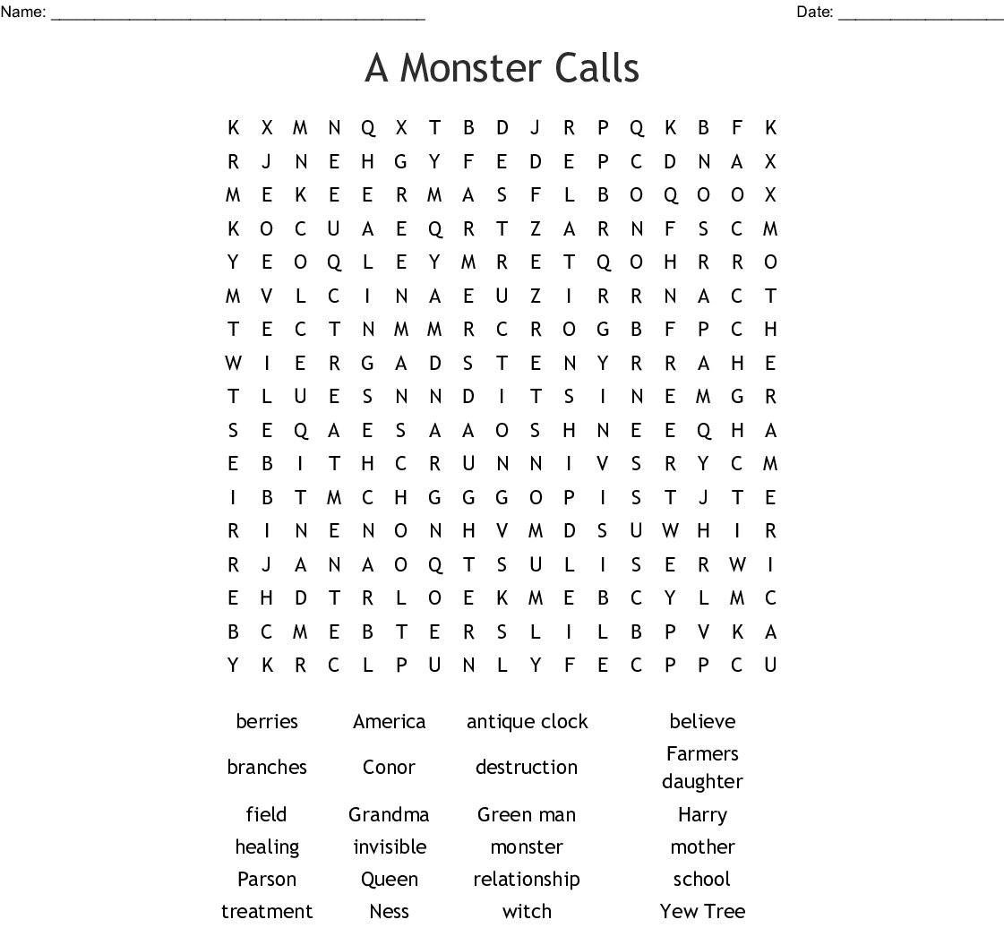 A Monster Calls Word Search