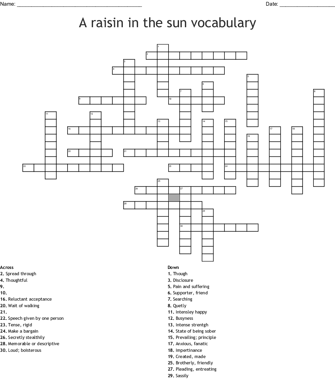 A Raisin In The Sun Vocabulary Crossword