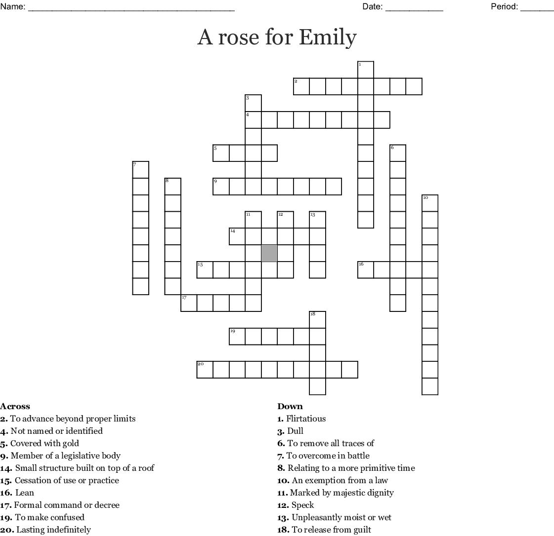 A Rose For Emily Crossword