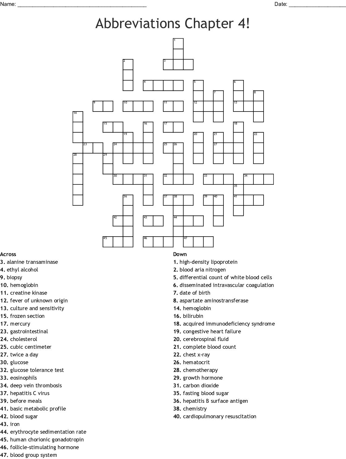 Common Medical Abbreviations Worksheet