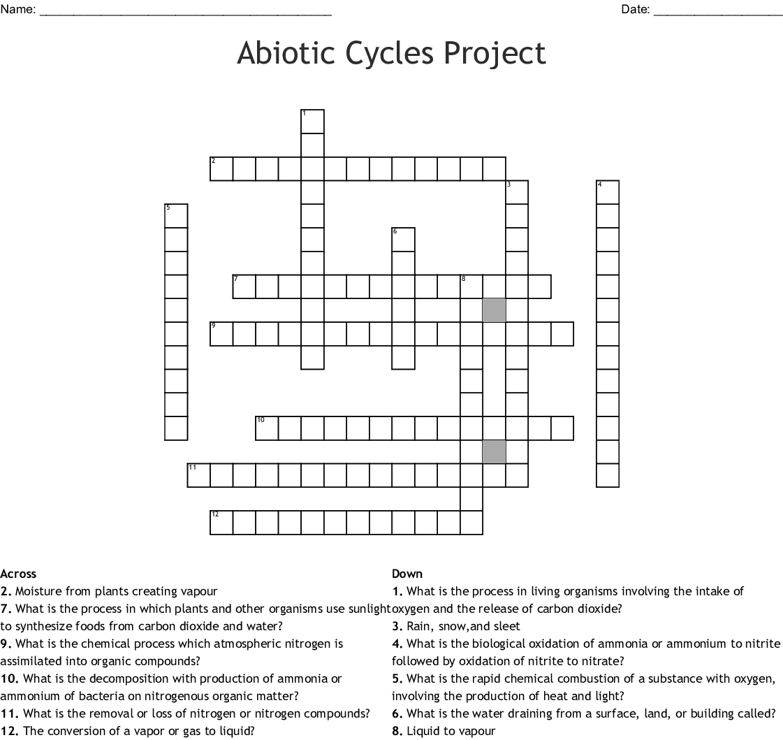 Nitrogen Cycle Crossword Puzzle