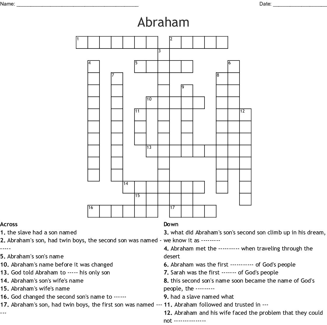 Old Testament People Crossword