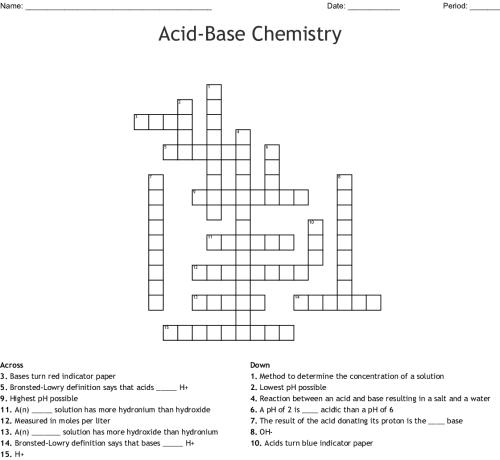 small resolution of acid base chemistry crossword