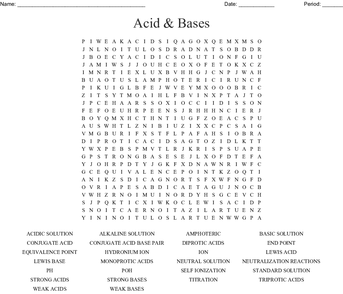 Acid Amp Bases Word Search