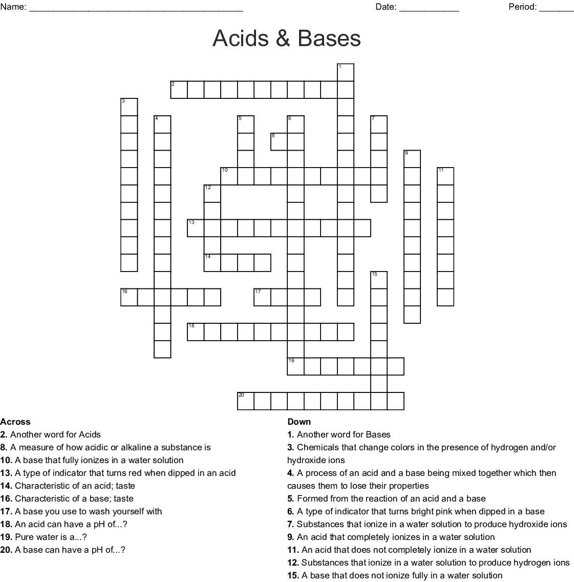 Acids Bases And Salts Word Search