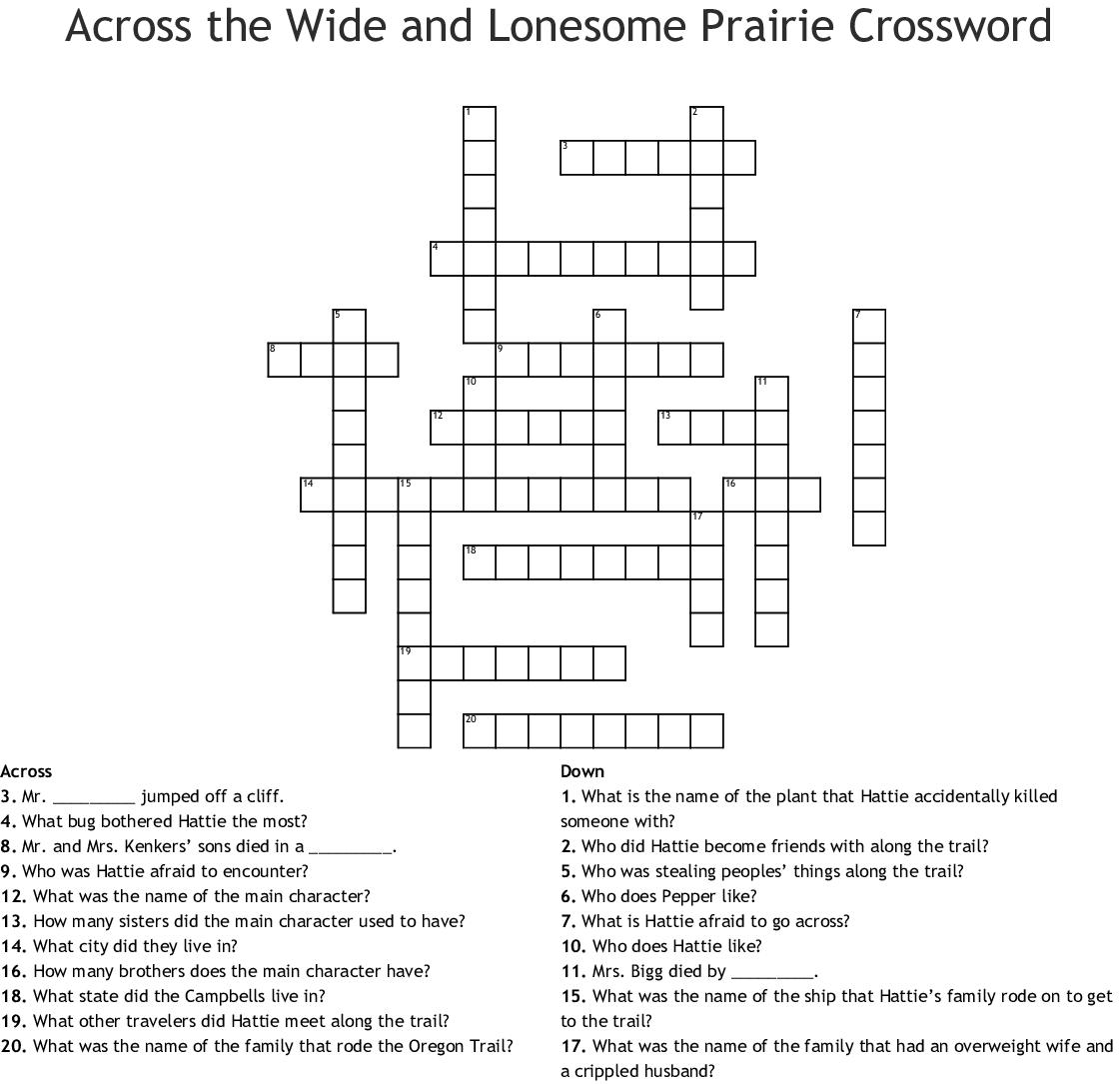 Oregon Trail Crossword
