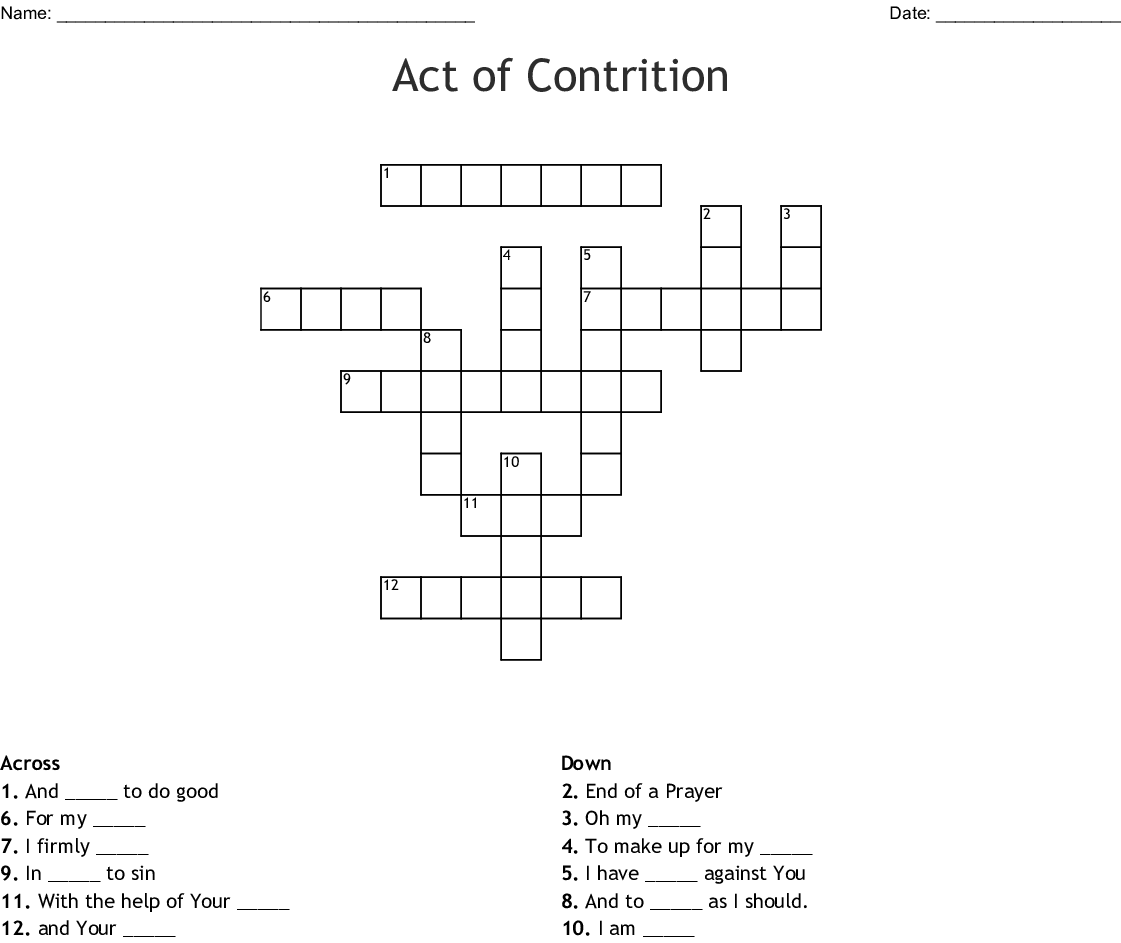 Act Of Contrition Word Search