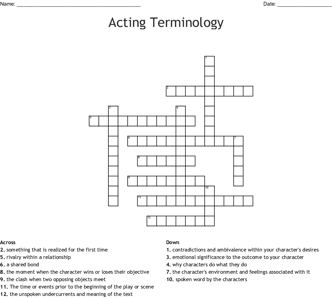 Acting Terminology Crossword