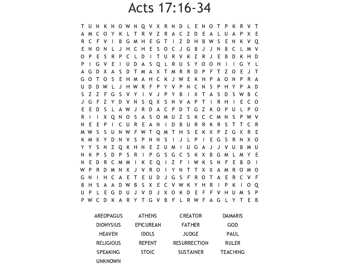 Acts 17 16 34 Word Search