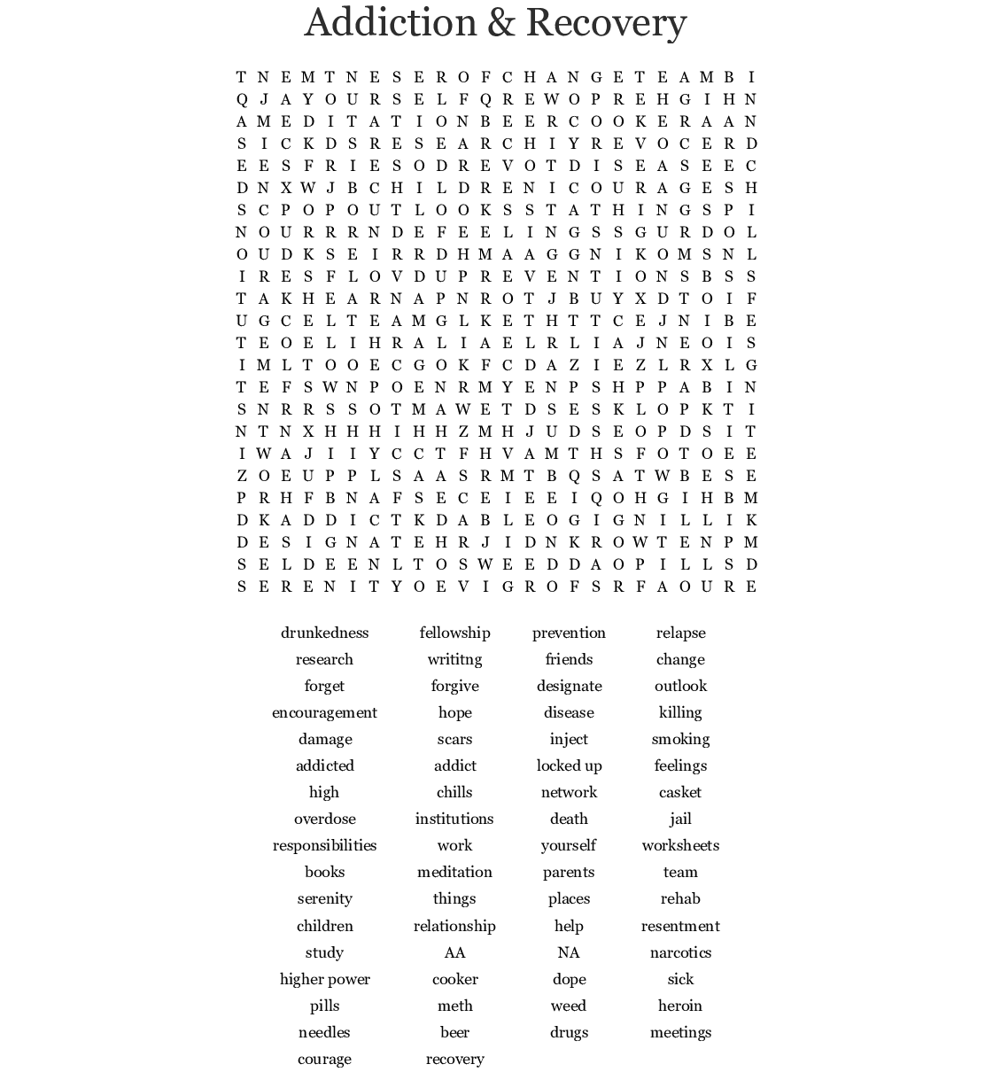 Recovery Word Search