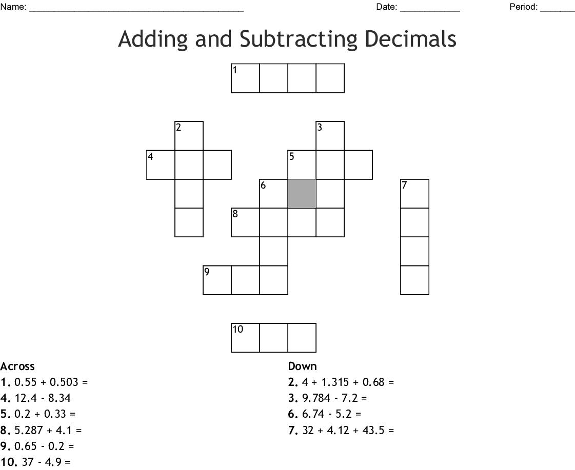 Adding And Subtracting Decimals Crossword