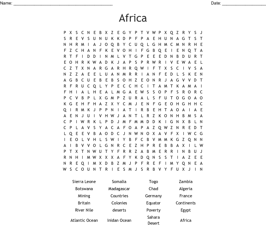 Africa Word Search