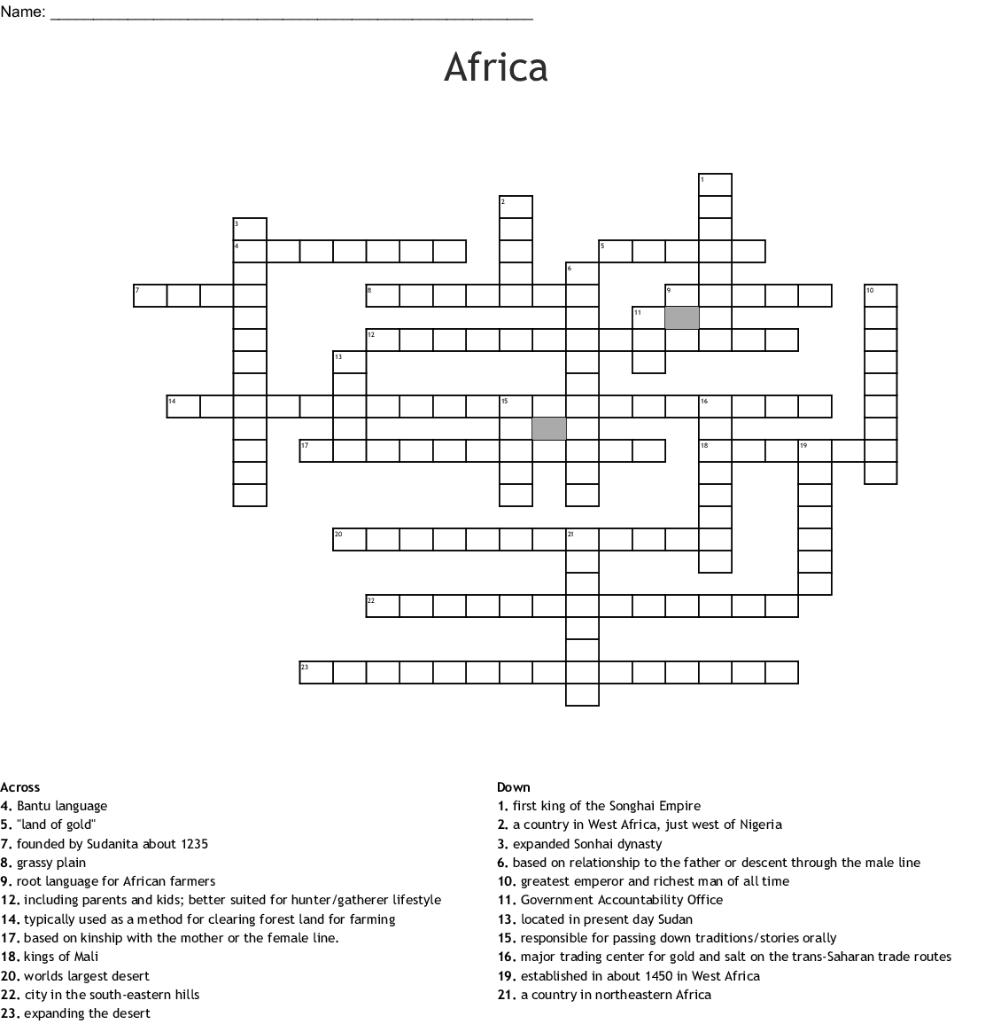 Geography Of Africa Crossword Puzzle Answers