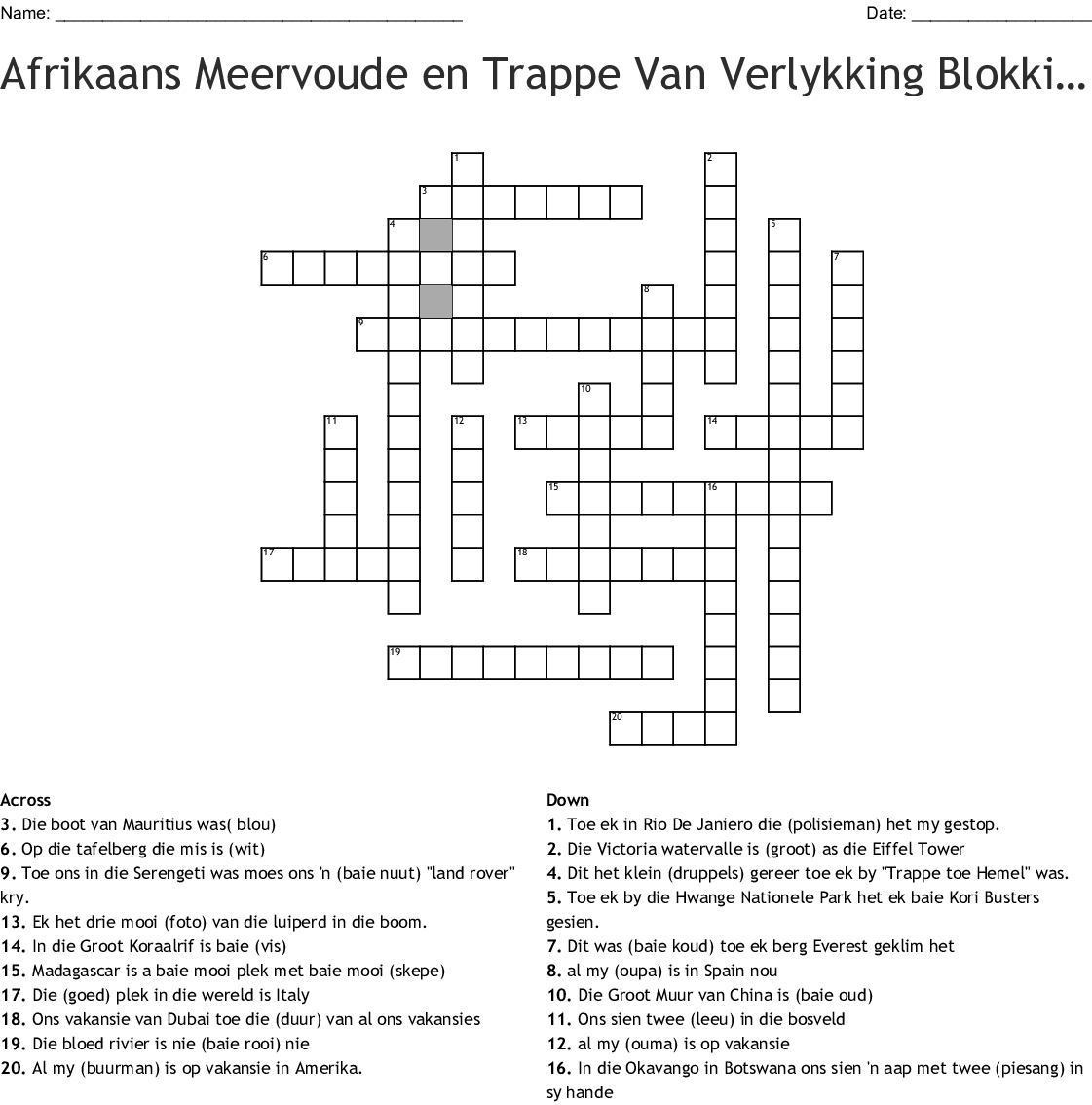 Intensiewe Vorme Toets Crossword
