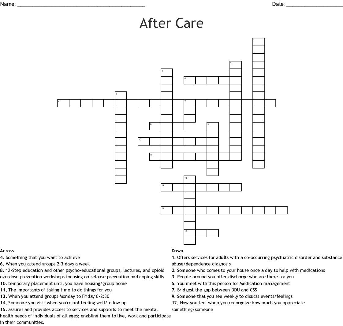 After Care Crossword