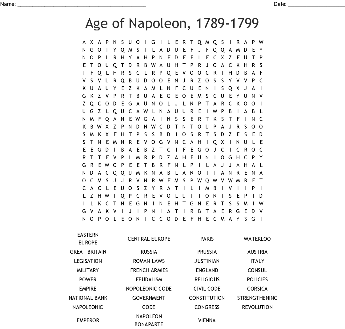 Age Of Napoleon Word Search