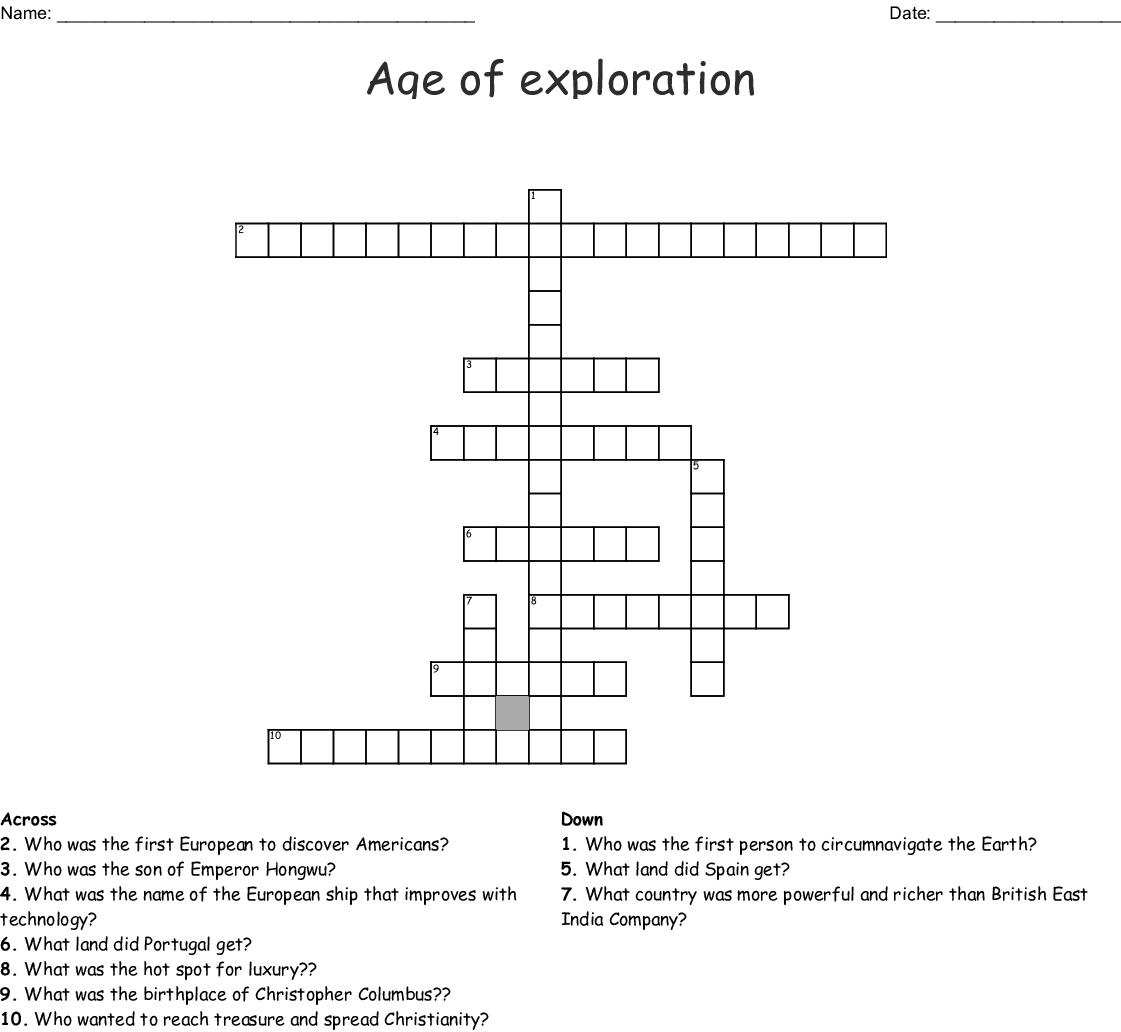 Age Of Exploration Crossword