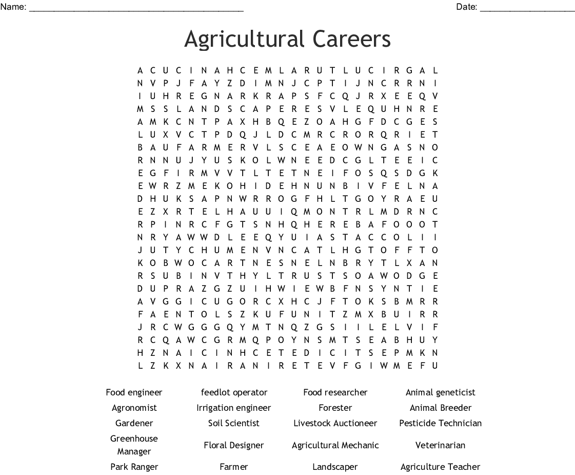 Ag Careers Worksheet