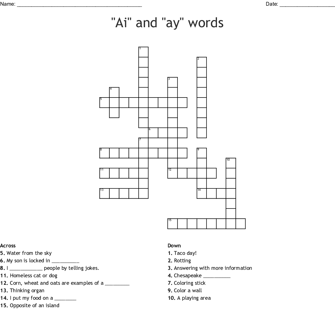 Ay And Ai Spelling Words For May 12 Crossword