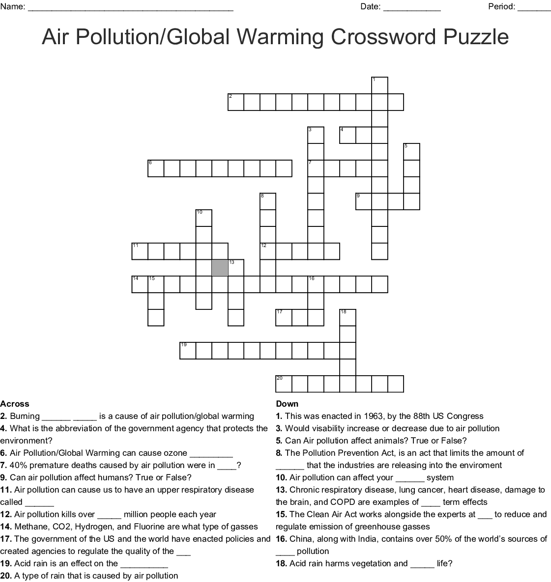 Physical Science Vocabulary Crossword Puzzle