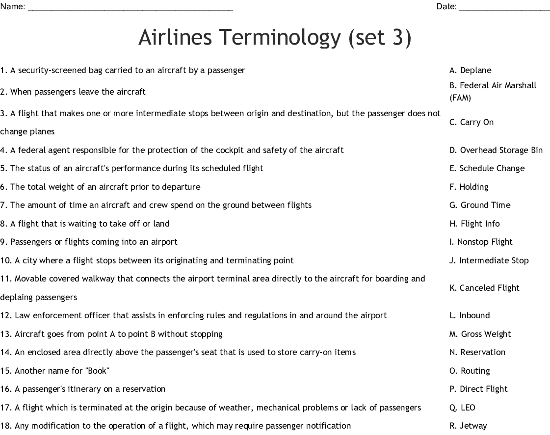 Air Travel Crosswords Word Searches Bingo Cards