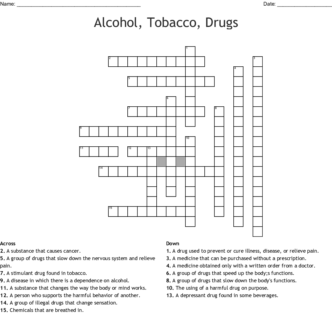Alcohol Tobacco Drugs Crossword