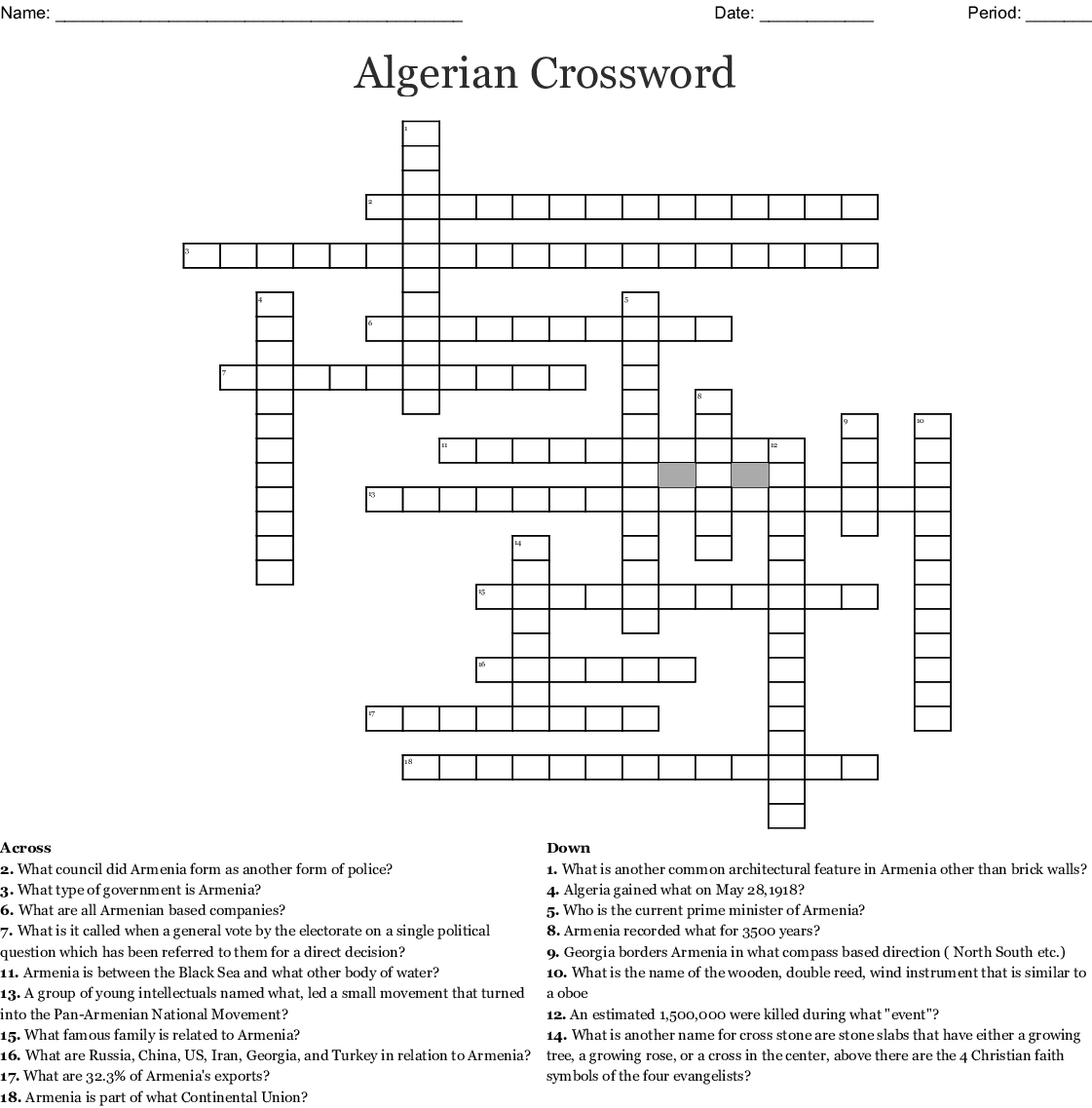 Algerian Crossword