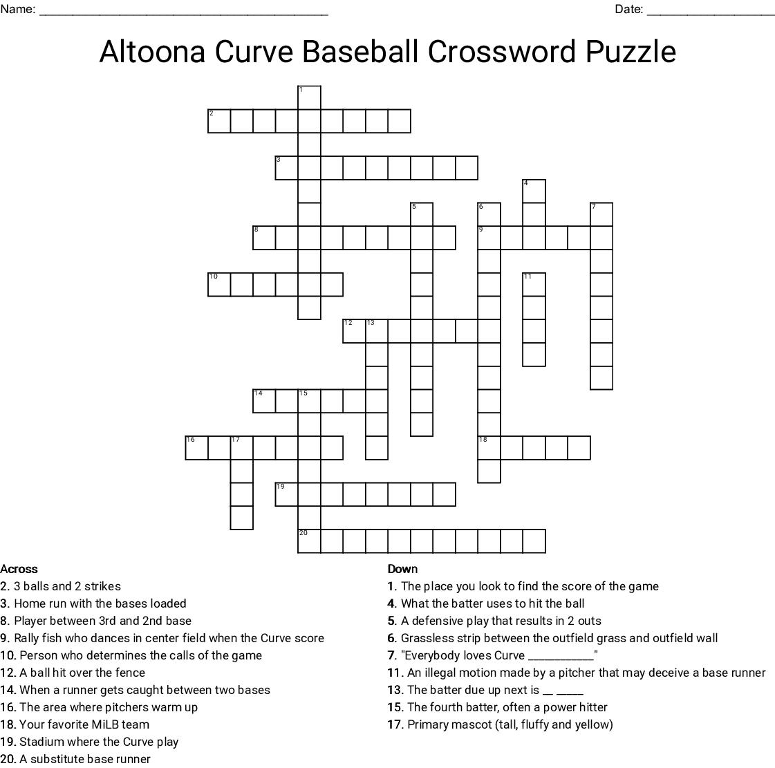 Baseball Crosswords Word Searches Bingo Cards