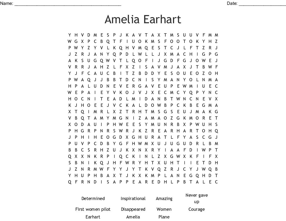 Amelia Earhart Word Search