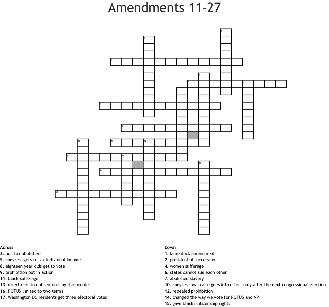Amendments 11 27 Crossword