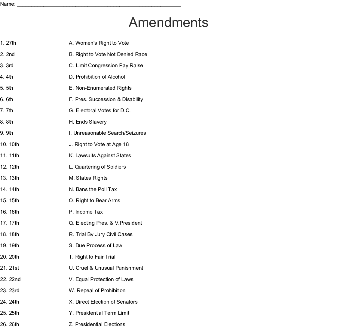 hight resolution of 8th Amendment Worksheet   Printable Worksheets and Activities for Teachers