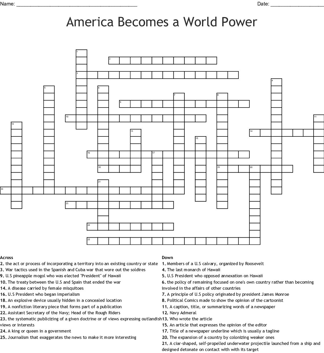 Similar To Crossword Puzzle American Becomes A World Power