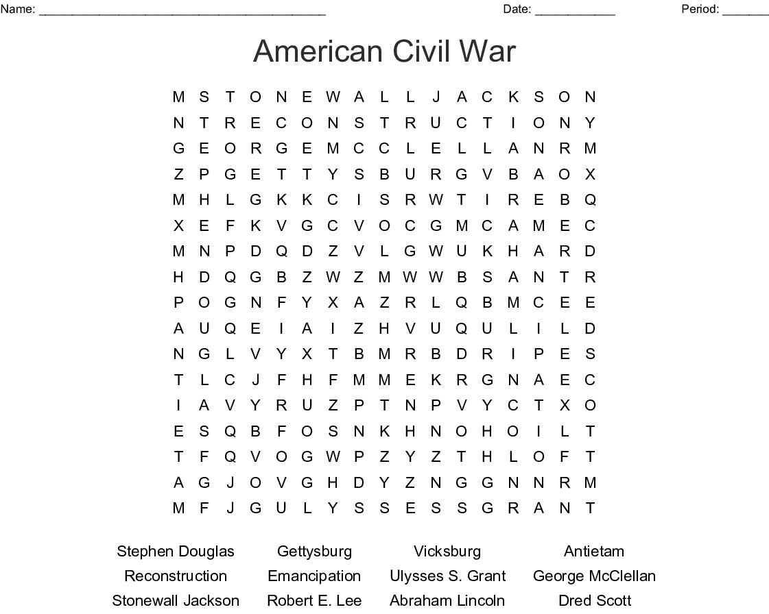 C Civil War Word Search