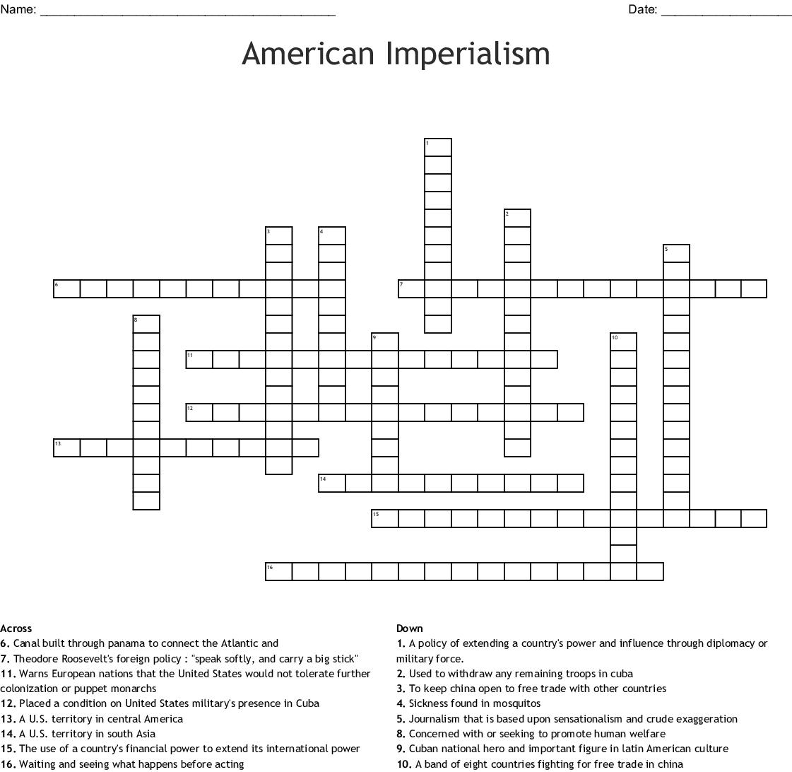 American Imperialism Crossword