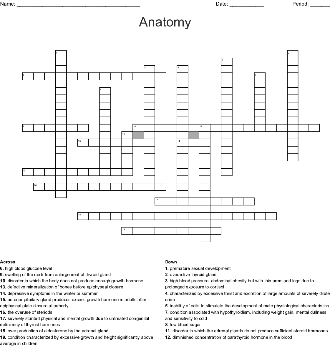 Disorders Of The Endocrine System Crossword