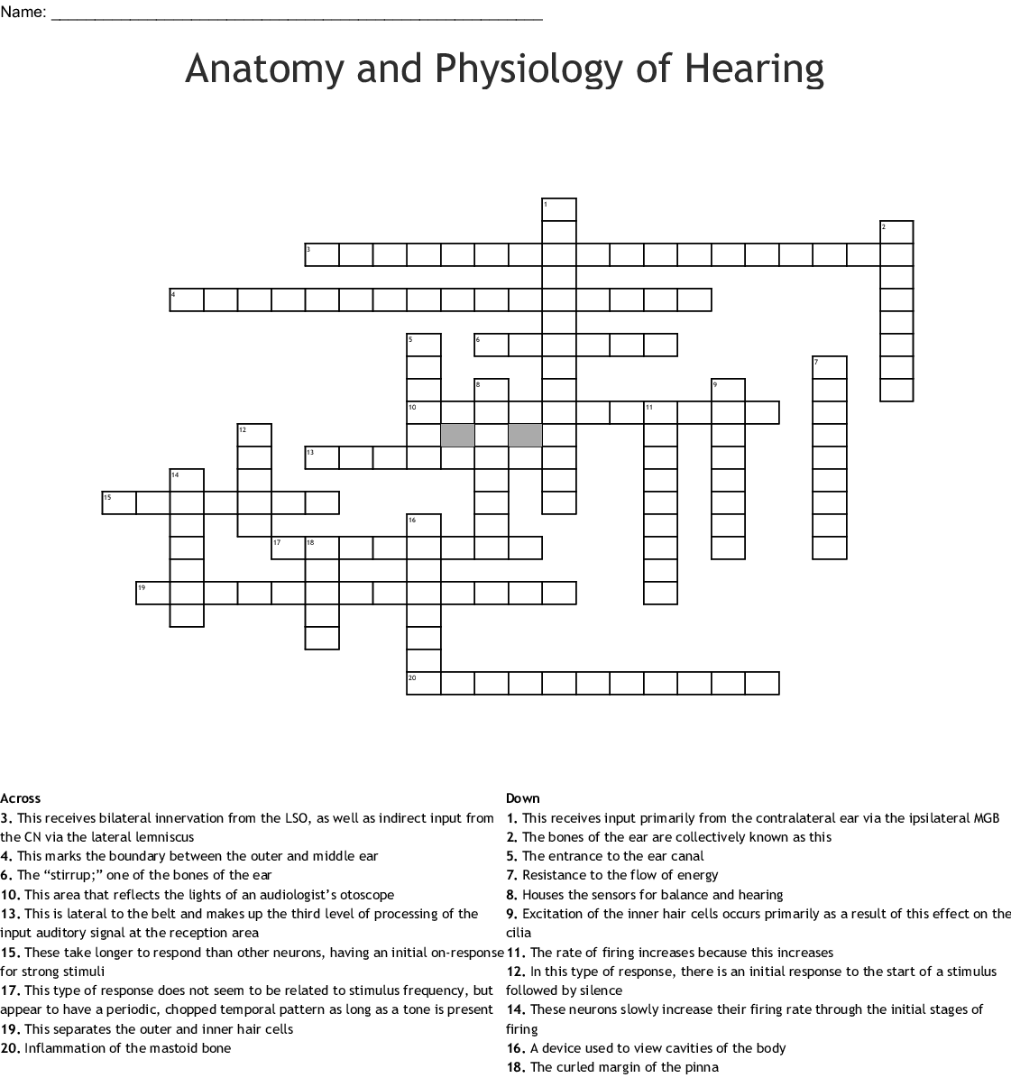 Anatomy And Physiology Of Hearing Crossword
