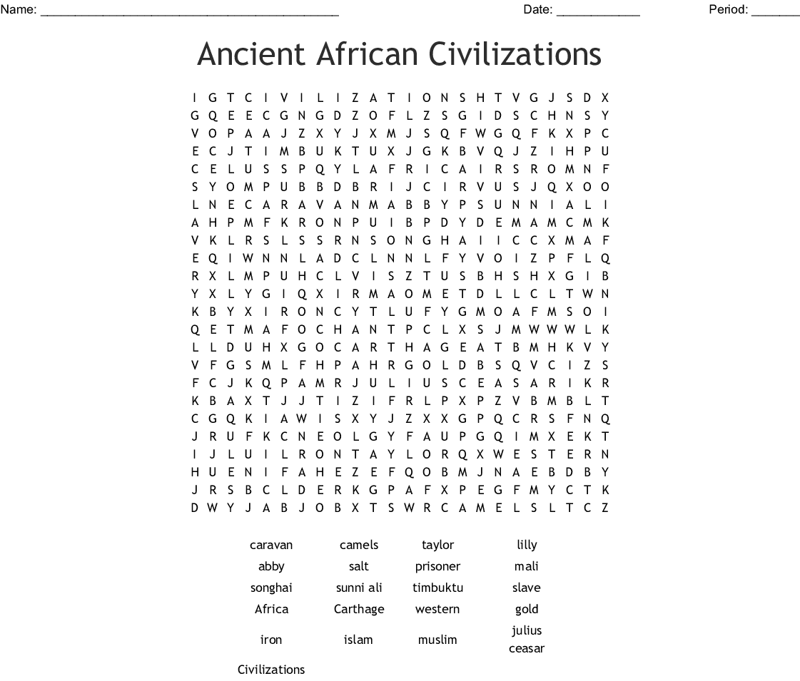 Ancient African Civilizations Word Search