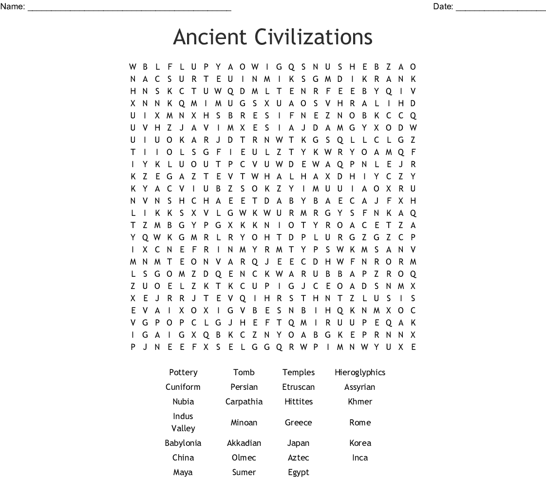 The Olmec Civilization Word Search