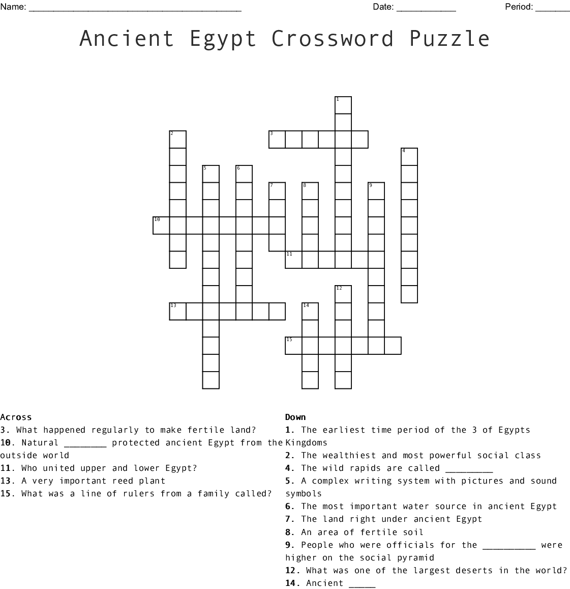 Geography Of Ancient Egypt Crossword