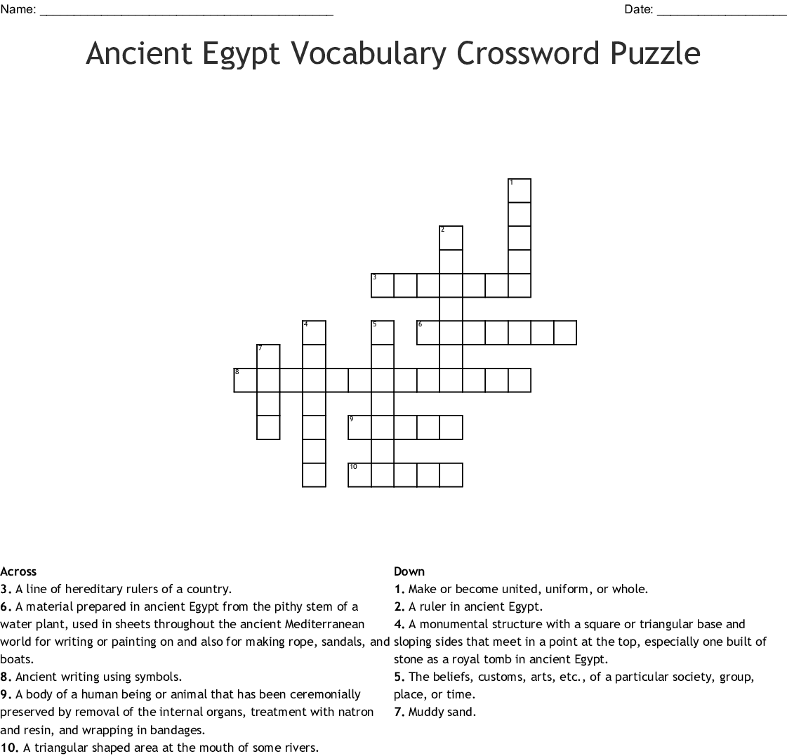 Ancient Egyptian Terms Crossword